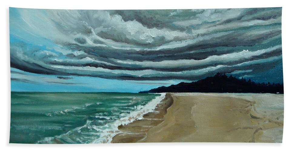 Landscape.beach Bath Sheet featuring the painting Clouds Rolling In by Elizabeth Robinette Tyndall