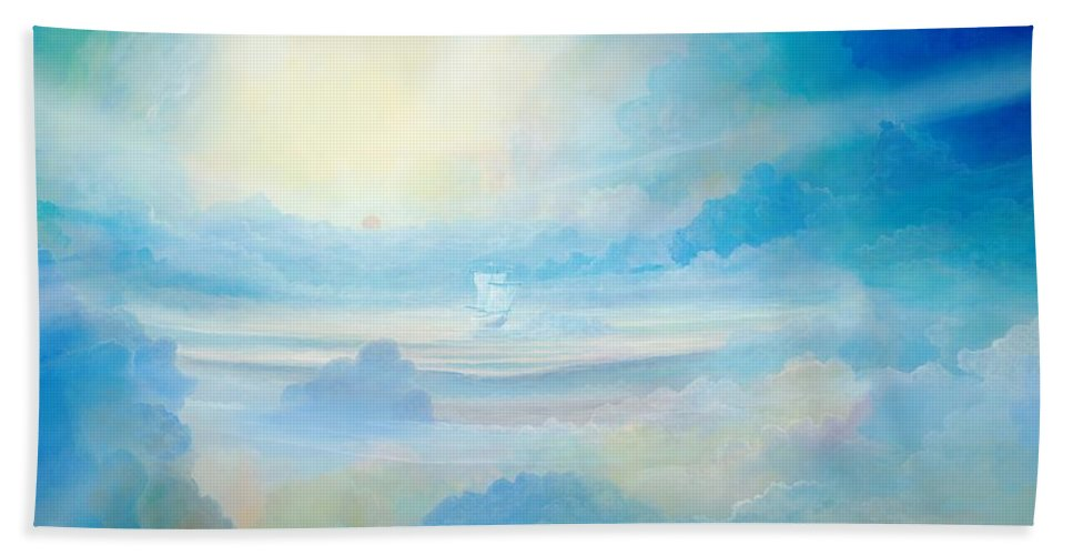 Blue Hand Towel featuring the painting Cloud's Sea by Silvian Sternhagel