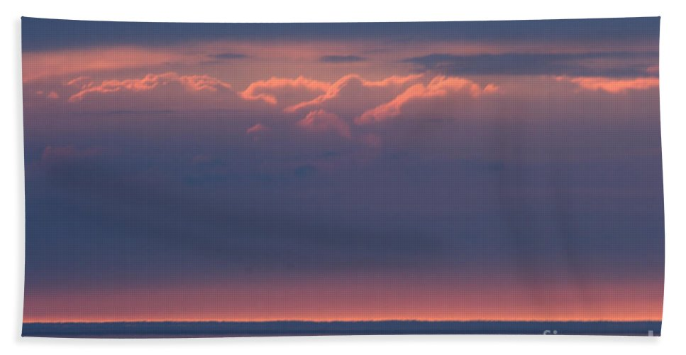 Grand Bend Bath Sheet featuring the photograph Clouds Talking To The Storm 3 by John Scatcherd
