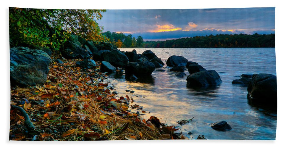 October Hand Towel featuring the photograph Cloudy Autumn Sunset by Lilia D
