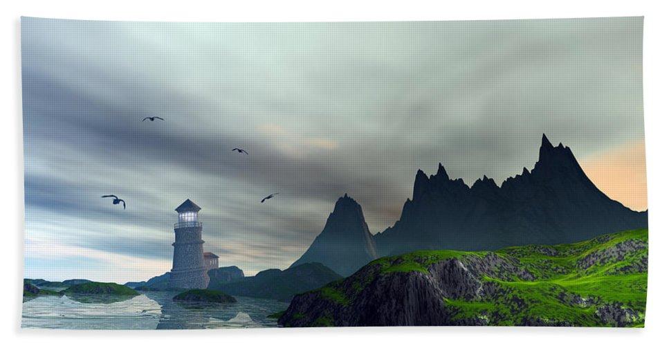 Ocean Landscape Bath Sheet featuring the digital art Cloudy Ocean Scene by John Junek