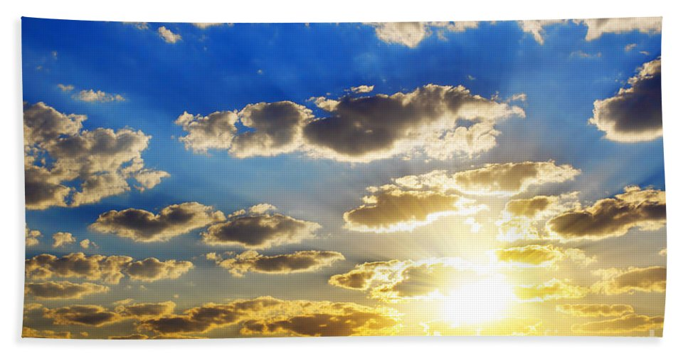 Atmosphere Hand Towel featuring the photograph Cloudy Sky by Carlos Caetano