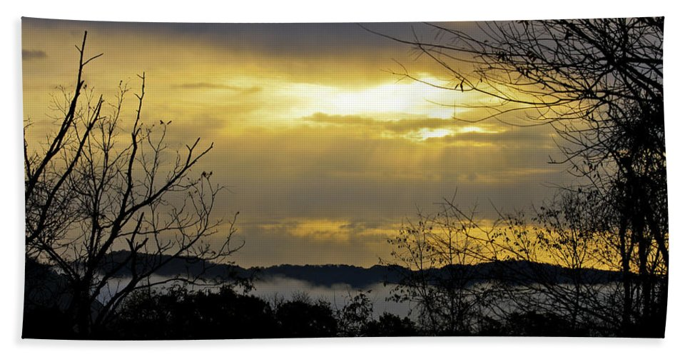 Sunrise Hand Towel featuring the photograph Cloudy Sunrise 1 by Teresa Mucha