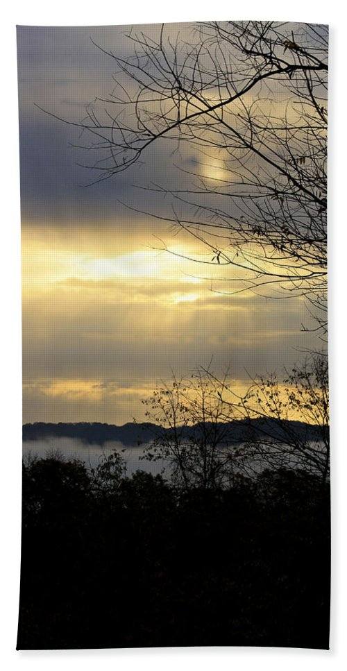 Sunrise Hand Towel featuring the photograph Cloudy Sunrise 2 by Teresa Mucha