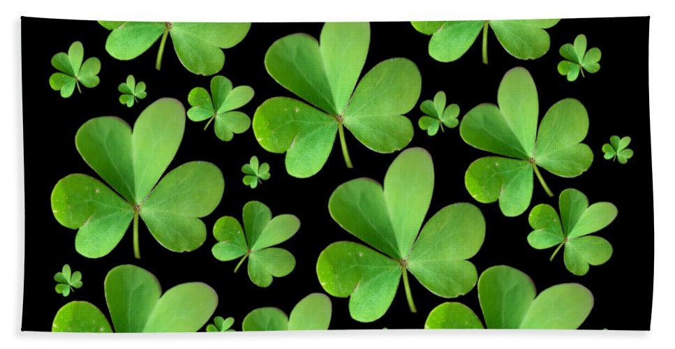 Leaf Clover Hand Towel featuring the photograph Clovers On Black by Bri Lou