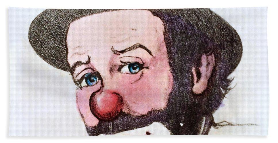 Clown Hand Towel featuring the photograph Clown Emmett Kelly by Miriam Danar