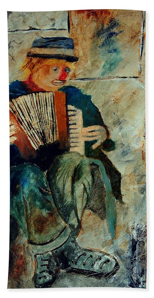 Music Hand Towel featuring the painting Clown by Pol Ledent