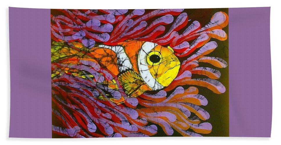 Clown Fish Bath Sheet featuring the tapestry - textile Clownfish I by Kay Shaffer