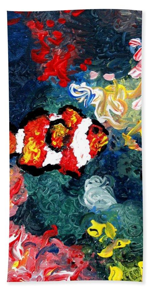 Fish Bath Towel featuring the painting Clownfish by Luiza Vizoli