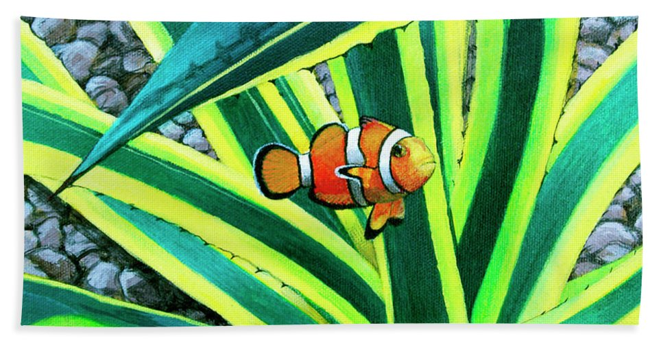 Fish Hand Towel featuring the painting Clownfish by Snake Jagger