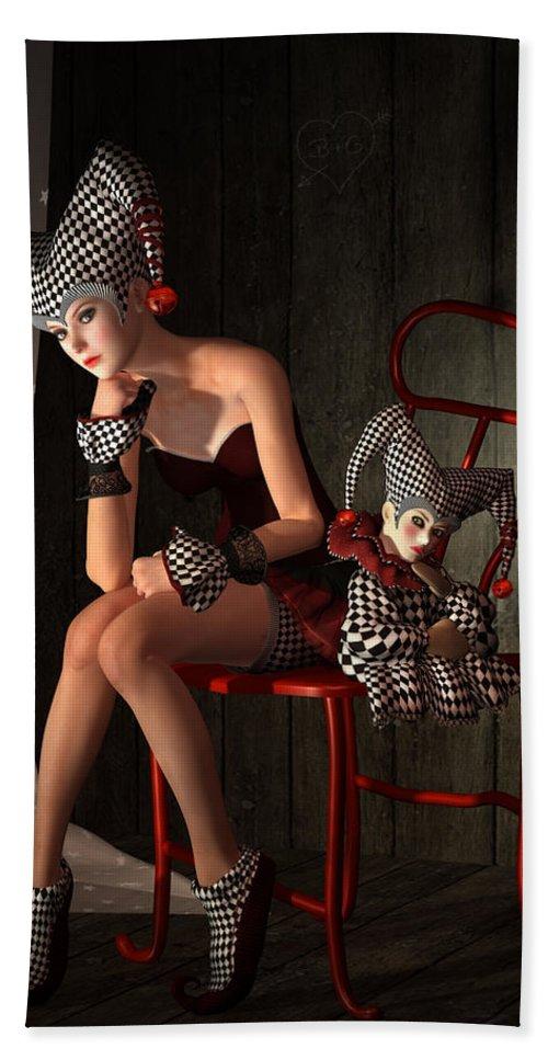 Clown Hand Towel featuring the mixed media Clowns Not Joking by Britta Glodde