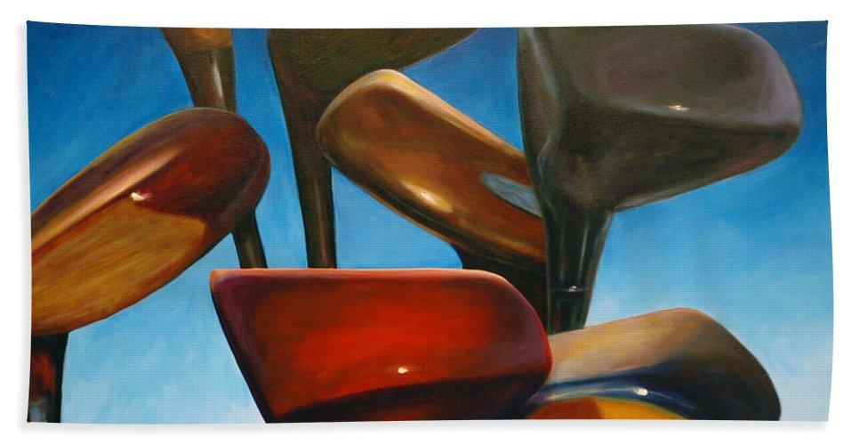 Golf Clubs Brown Bath Sheet featuring the painting Clubs Rising by Shannon Grissom