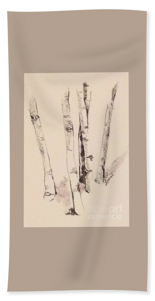 Chiaroscuro Bath Sheet featuring the painting Clump Of Birch In Winter by Laurel Adams