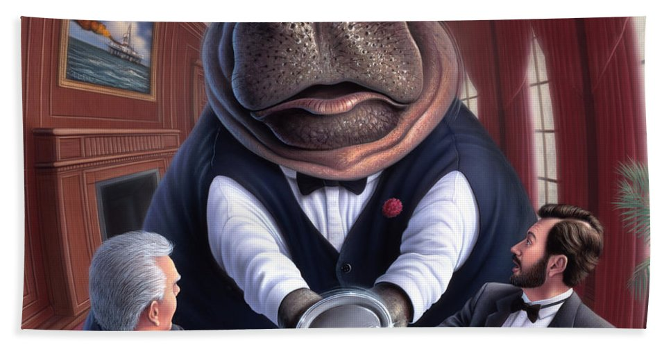Hippo Hand Towel featuring the painting Clumsy by Jerry LoFaro