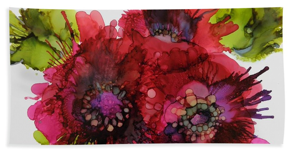Alcohol Ink Bath Sheet featuring the painting Cluster by Beth Kluth