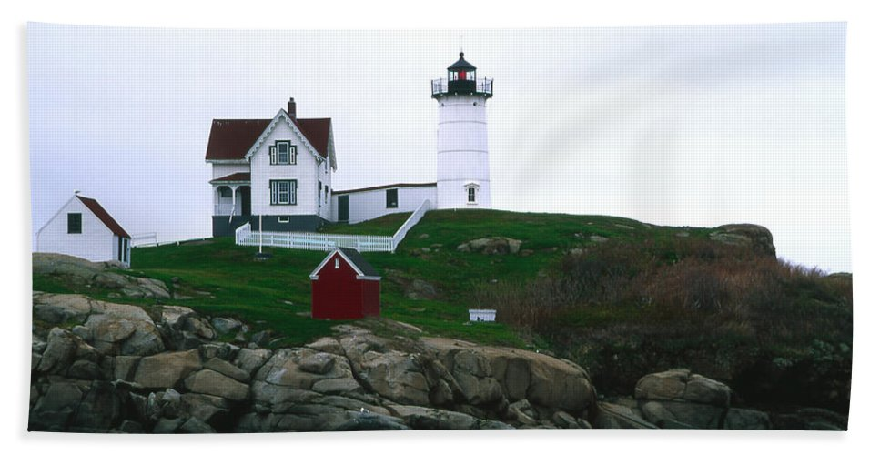 Landscape Lighthouse Nautical New England Nubble Light Cape Neddick Bath Sheet featuring the photograph Cnrf0502 by Henry Butz