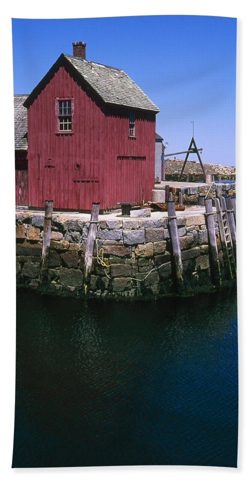 Landscape New England Rockport Motif Number 1 Bath Sheet featuring the photograph Cnrf0506 by Henry Butz