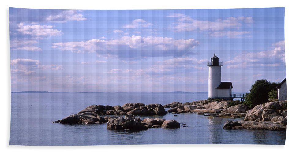 Landscape Lighthouse New England Nautical Bath Sheet featuring the photograph Cnrf0901 by Henry Butz
