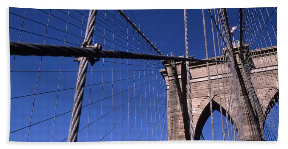 Landscape Brooklyn Bridge New York City Bath Sheet featuring the photograph Cnrg0405 by Henry Butz