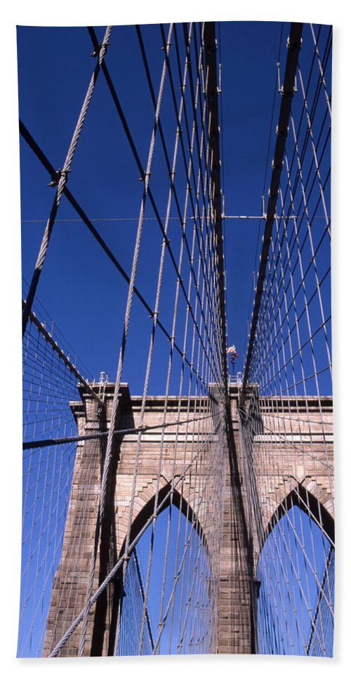 Landscape Brooklyn Bridge New York City Bath Sheet featuring the photograph Cnrg0407 by Henry Butz