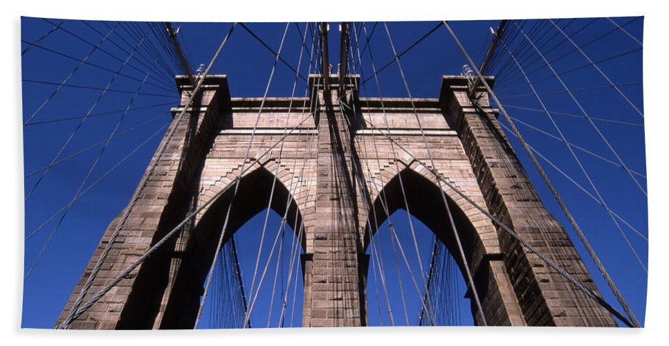 Landscape Brooklyn Bridge New York City Hand Towel featuring the photograph Cnrg0409 by Henry Butz