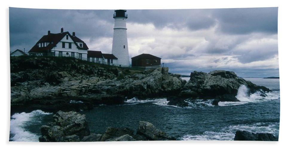 Landscape New England Lighthouse Nautical Storm Coast Bath Sheet featuring the photograph Cnrg0601 by Henry Butz