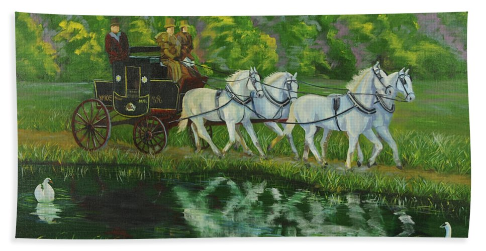 Mail Coach Hand Towel featuring the painting Coach And Four In Hand by Charlotte Blanchard