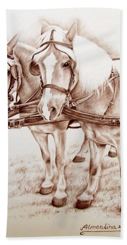 Horses Bath Towel featuring the drawing Coach Horses by Nicole Zeug