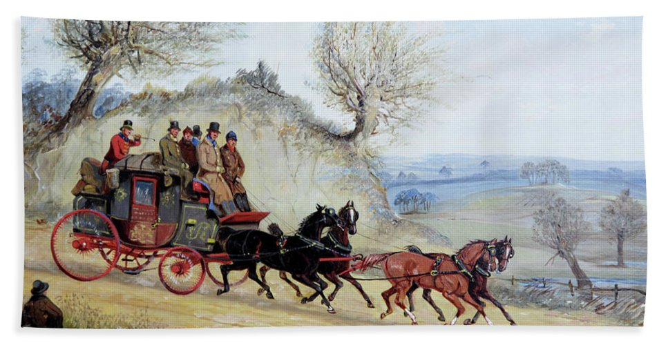 Coaching Oil Of A Royal Mail Coach Crossing Landscape Passing Seated Man With His Dog By Samuel Henry Alken Bath Sheet featuring the painting Coaching Oil Of A Royal Mail Coach Crossing Landscape by MotionAge Designs