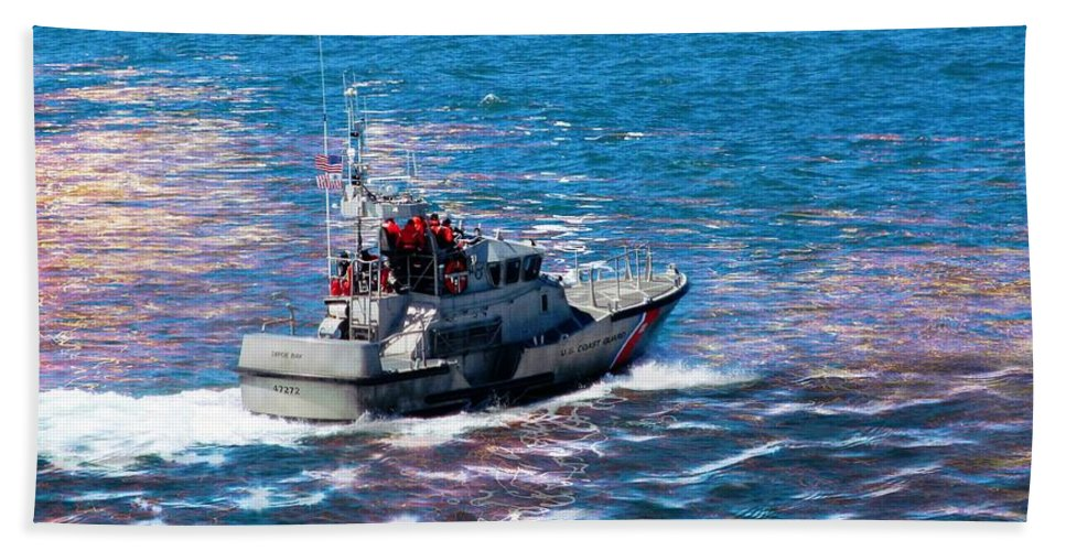 Coast Guard Bath Towel featuring the photograph Coast Guard Out To Sea by Aaron Berg