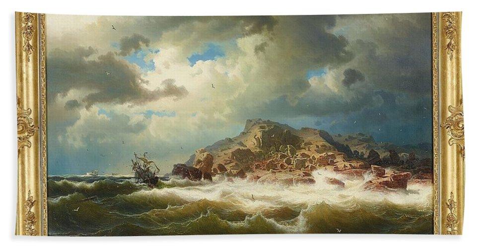 Marcus Larson 1825-1864 Bränningar And Shipwrecked On The Coast Of Bohuslän Hand Towel featuring the painting coast of Bohuslan by Marcus Larson