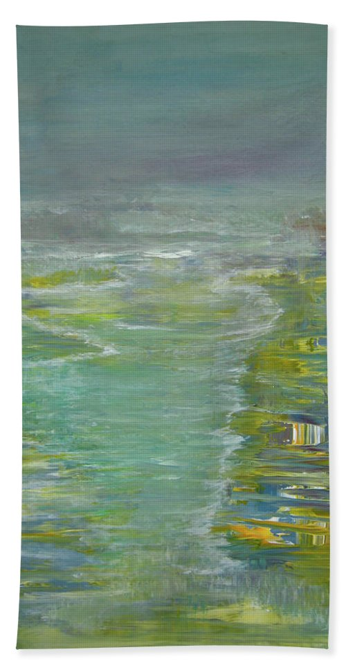 Coastal Hand Towel featuring the painting Coastal House by Alina Cristina Frent