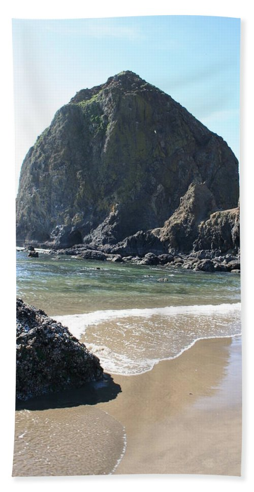 Coastal Landscape Bath Towel featuring the photograph Coastal Landscape - Cannon Beach Afternoon - Scenic Lanscape by Quin Sweetman