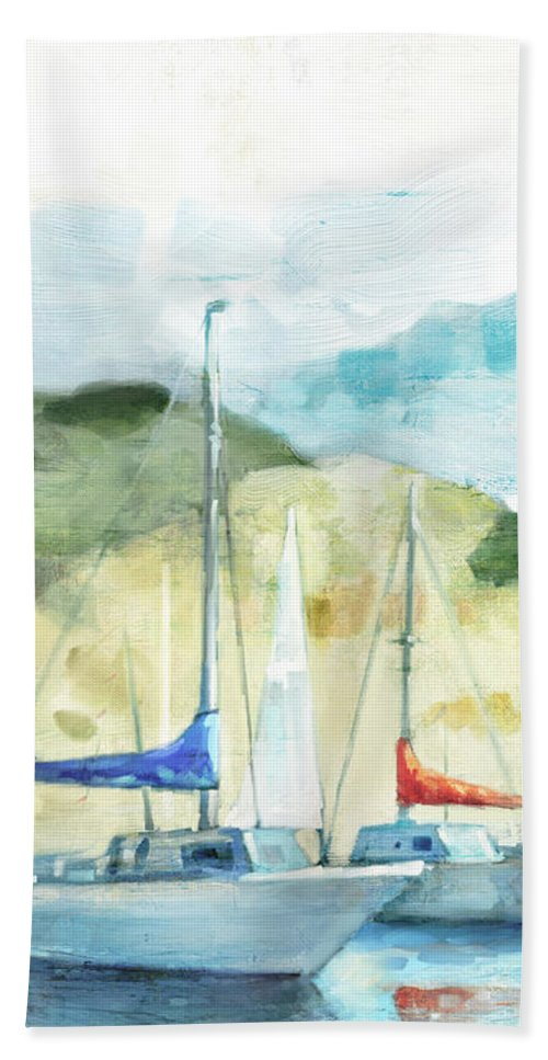 Coastal Hand Towel featuring the painting Coastal Sails by Mauro DeVereaux