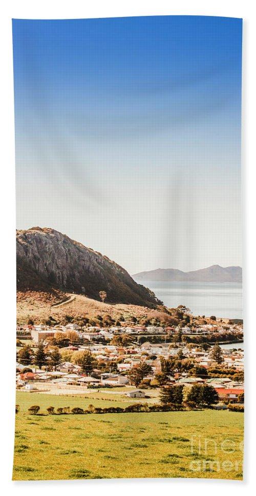 Seaside Hand Towel featuring the photograph Coastal Tasmanian Town by Jorgo Photography - Wall Art Gallery