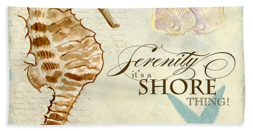 Watercolor Hand Towel featuring the painting Coastal Waterways - Seahorse Serenity by Audrey Jeanne Roberts