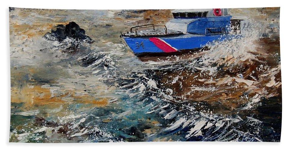 Sea Hand Towel featuring the painting Coastguards by Pol Ledent