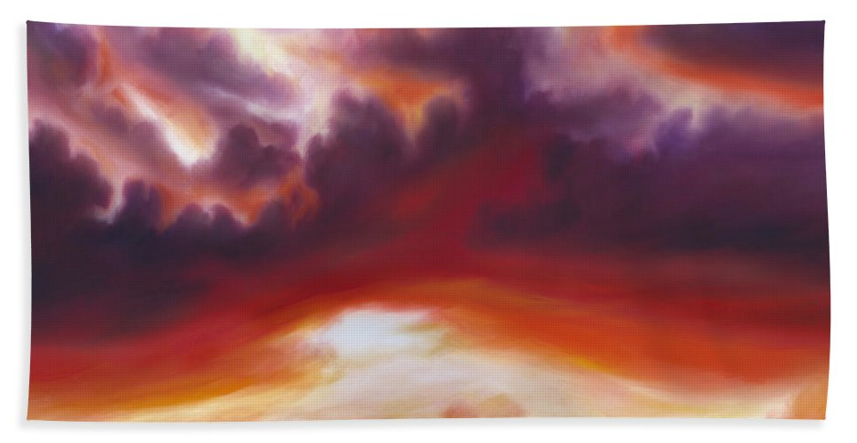 Skyscape Bath Towel featuring the painting Coastline by James Christopher Hill