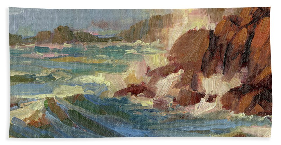Coast Bath Towel featuring the painting Coastline by Steve Henderson