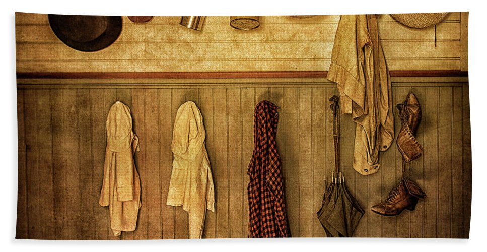 Coat Room Hand Towel featuring the photograph Coat Room At The Old Schoolhouse by Priscilla Burgers