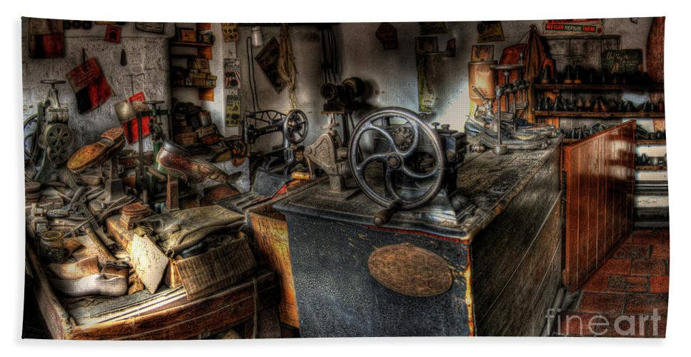 Art Bath Sheet featuring the photograph Cobbler's Shop by Yhun Suarez