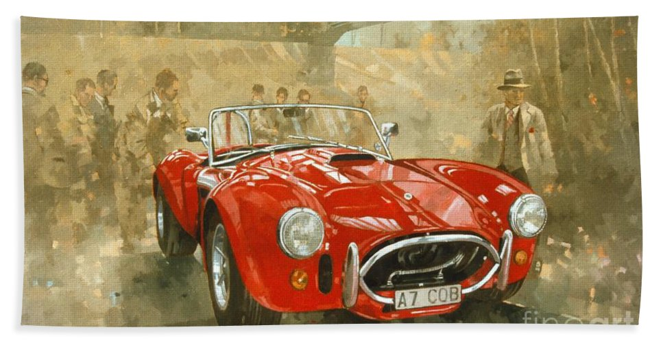 Sports Car; Race Car; Vehicle; Racing; Driver; Track; Racetrack; Race Track; Vintage; Racer; Red; Cobra; Brooklands; Old Timer Bath Sheet featuring the painting Cobra At Brooklands by Peter Miller