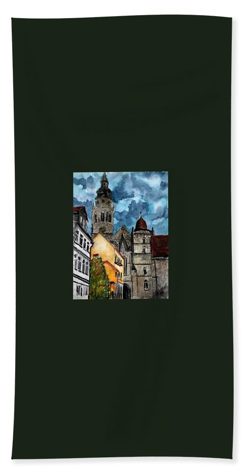 Germany Hand Towel featuring the painting Coburg Germany Castle Painting Art Print by Derek Mccrea