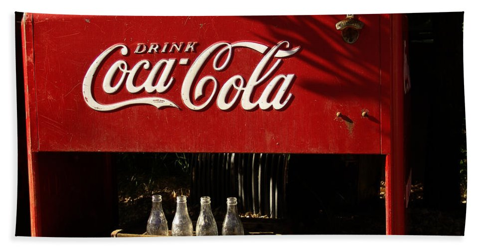 Coke Hand Towel featuring the photograph Coca-cola by Carol Milisen