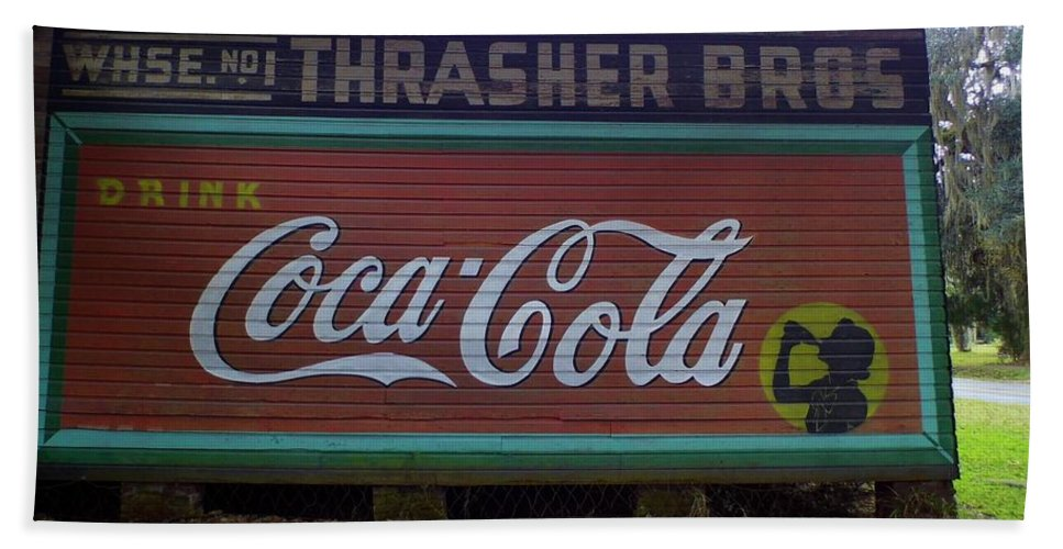 Coke Hand Towel featuring the photograph Coca Cola Sign by D Hackett