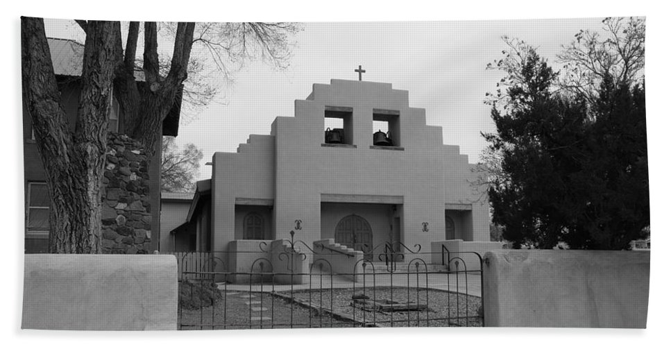 Architecture Bath Towel featuring the photograph Cochiti Church by Rob Hans