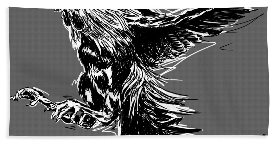 Fighting Cock Black White Chickens Bath Towel featuring the digital art Cock Bw II Transparant by Sigrid Van Dort