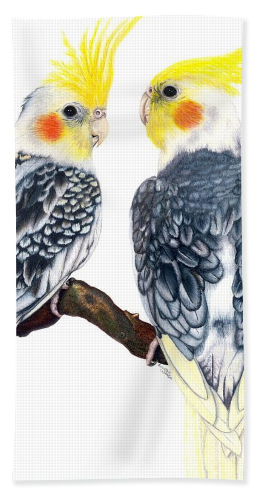 Cockatiel Hand Towel featuring the drawing Cockatiels by Kristen Wesch