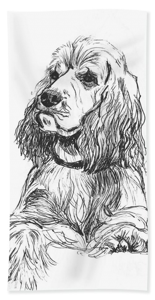 Dog Bath Sheet featuring the drawing Cocker Spaniel by Charme Curtin