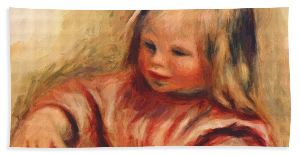 Coco Hand Towel featuring the painting Coco by Renoir PierreAuguste